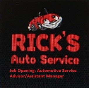 JOB OPENING: AUTOMOTIVE SERVICE ADVISOR/ASSISTANT MANAGER
