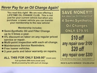 LIFETIME OIL CHANGES AT RICKS'S AUTO SERVICE--CHECK THIS OUT!